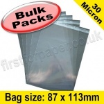 Cello Bag, with re-seal flaps, Size 87 x 113mm - 1,000 pack