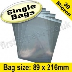 Cello Bag, with re-seal flaps, Size 89 x 216mm