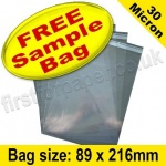 •Sample Cello Bag, with re-seal flaps, Size 89 x 216mm