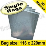 Cello Bag, with re-seal flaps, Size 116 x 220mm