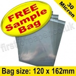 •Sample Cello Bag, with re-seal flaps, Size 120 x 162mm