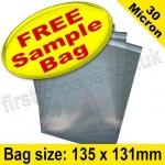 •Sample Cello Bag, with re-seal flaps, Size 135 x 131mm