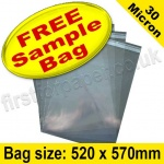 •Sample Cello Bag, with re-seal flaps, Size 520 x 570mm