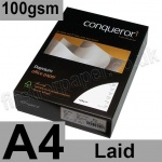 Conqueror Textured Laid, 100gsm, A4, Diamond White