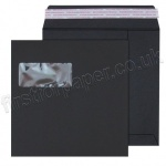 Black Window Envelope, 180gsm, 220 x 220mm - Box of 250