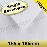 Premium Gummed Greetings Card Envelope, 120gsm, 165mm Square, White