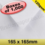 Premium Gummed Greetings Card Envelope, 120gsm, 165mm Square, White - 1,000 Envelopes