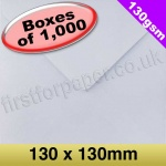 Premium Gummed Greetings Card Envelope, 130gsm, 130mm Square, White - 1,000 Envelopes