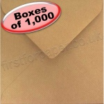 Spectrum Greetings Card Envelope, 165 x 165mm, Ribbed Kraft - 1,000 Envelopes