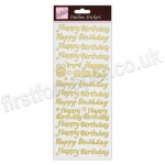 Anita's Peel Off Outline Stickers, Happy Birthday - Gold on White