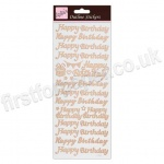 Anita's Peel Off Outline Stickers, Happy Birthday - Rose Gold on White