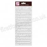 Anita's Peel Off Outline Stickers, Congratulations - Silver on White