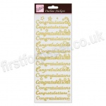Anita's Peel Off Outline Stickers, Congratulations - Gold on White
