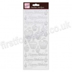 Anita's Peel Off Outline Stickers, Birthday Cupcake - Silver on White