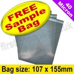 •Sample Cello Bag, with re-seal flaps, Size 107 x 155mm