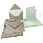Pegasi, Pale Cream A6 Card Blanks and Kraft Envelopes