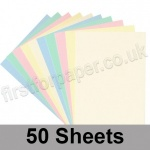 Craft & Hobby, Thick Card Pack, Pastel Shades, 50 A4 sheets