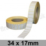 White Semi-Gloss, Self Adhesive Labels, 34 x 17mm, Permanent Adhesive - Roll of 5,000
