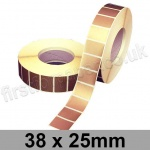 Metallic Gold, Self Adhesive Labels, 38 x 25mm, Permanent Adhesive - Roll of 5,000