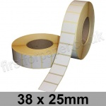 White Semi-Gloss, Self Adhesive Labels, 38 x 25mm, Permanent Adhesive - Roll of 5,000