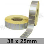Metallic Silver, Self Adhesive Labels, 38 x 25mm, Permanent Adhesive - Roll of 5,000