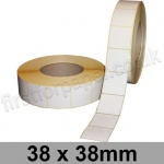 White Semi-Gloss, Self Adhesive Labels, 38 x 38mm, Permanent Adhesive - Roll of 3,000