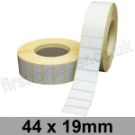 White Semi-Gloss, Self Adhesive Labels, 44 x 19mm, Permanent Adhesive - Roll of 5,000