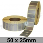 Metallic Silver, Self Adhesive Labels, 50 x 25mm, Permanent Adhesive - Roll of 5,000