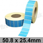 Blue Semi-Gloss, Self Adhesive Labels, 50.8 x 25.4mm, Permanent Adhesive - Roll of 5,000