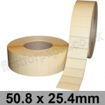 Cream Matt Non-Gloss, Self Adhesive Labels, 50.8 x 25.4mm, Permanent Adhesive - Roll of 5,000