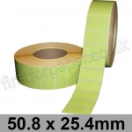 Light Green Semi-Gloss, Self Adhesive Labels, 50.8 x 25.4mm, Permanent Adhesive - Roll of 5,000