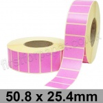 Pink Semi-Gloss, Self Adhesive Labels, 50.8 x 25.4mm, Permanent Adhesive - Roll of 5,000