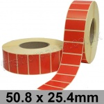 Red Semi-Gloss, Self Adhesive Labels, 50.8 x 25.4mm, Permanent Adhesive - Roll of 5,000