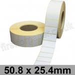 White Semi-Gloss, Self Adhesive Labels, 50.8 x 25.4mm, Permanent Adhesive - Roll of 5,000