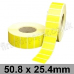 Yellow Semi-Gloss, Self Adhesive Labels, 50.8 x 25.4mm, Permanent Adhesive - Roll of 5,000