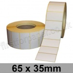 White Semi-Gloss, Self Adhesive Labels, 65 x 35mm, Permanent Adhesive - Roll of 3,000