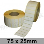 White Semi-Gloss, Self Adhesive Labels, 75 x 25mm, Permanent Adhesive - Roll of 5,000