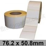 White Semi-Gloss, Self Adhesive Labels, 76.2 x 50.8mm, Permanent Adhesive - Roll of 2,000