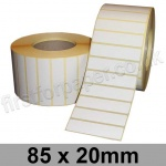 White Semi-Gloss, Self Adhesive Labels, 85 x 20mm, Permanent Adhesive - Roll of 5,000