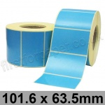 Blue Semi-Gloss, Self Adhesive Labels, 101.6 x 63.5mm, Permanent Adhesive - Roll of 2,000