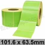 Light Green Semi-Gloss, Self Adhesive Labels, 101.6 x 63.5mm, Permanent Adhesive - Roll of 2,000