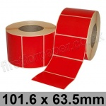 Red Semi-Gloss, Self Adhesive Labels, 101.6 x 63.5mm, Permanent Adhesive - Roll of 2,000