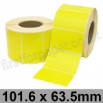 Yellow Semi-Gloss, Self Adhesive Labels, 101.6 x 63.5mm, Permanent Adhesive - Roll of 2,000