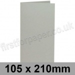 Colorset Recycled, Pre-creased, Single Fold Cards, 270gsm, 105 x 210mm, Light Grey