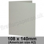 Colorset Recycled, Pre-creased, Single Fold Cards, 270gsm, 108 x 140mm (American A2), Light Grey