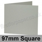 Colorset Recycled, Pre-creased, Single Fold Cards, 270gsm, 97mm Square, Light Grey