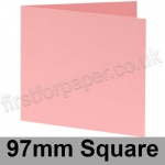 Colorset Recycled, Pre-creased, Single Fold Cards, 270gsm, 97mm Square, Pink Ice