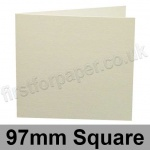 Conqueror Laid, Pre-creased, Single Fold Cards, 300gsm, 97mm Square, Oyster