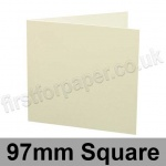 Conqueror Wove, Pre-creased, Single Fold Cards, 300gsm, 97mm Square, Oyster