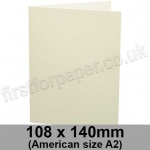 Conqueror Wove, Pre-creased, Single Fold Cards, 300gsm, 108 x 140mm (American A2), Oyster